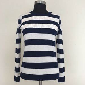 Banana Republic wool sequined navy striped top